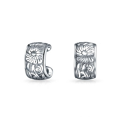 .925 Sterling Silver Engraved Flower Leaves Band Ear Cuff Pair