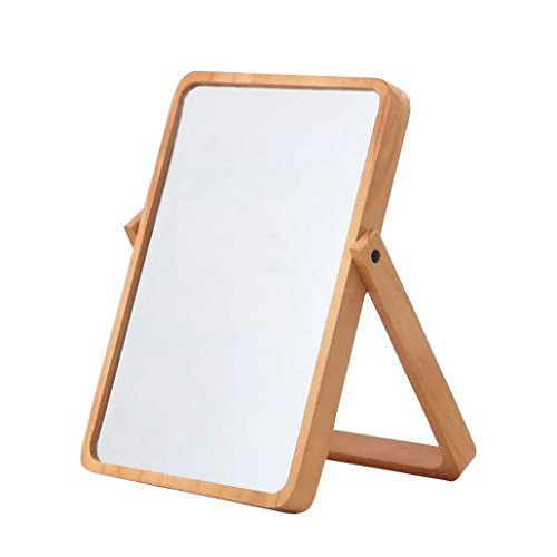 Restbuy Standing Mirror Cosmetic Mirror Table Mirror with Wood Frame and Stand Mirror for hanging Brown