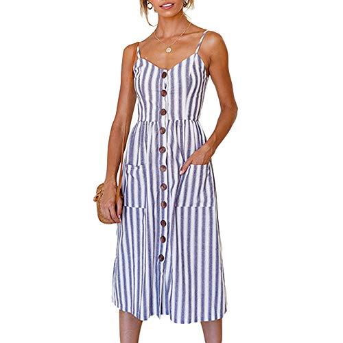 (Women Hawaiian Dresses Spaghetti Strap Casual Swing Boho Knee Length Dress Plus Size Big Striped XL)