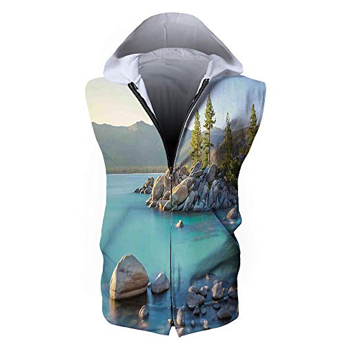 Men's Waistcoat Casual Hooded,Lake,Pastoral Spring Time Scenery in Provincial ()