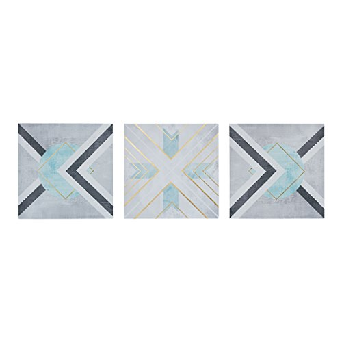 Urban Habitat Axis Grey White Canvas Wall Art 20X20 3 Piece Multi Panel, Geometric Modern/Contemporary Wall Décor