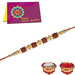 Multicolor Combo of 10 Dora Rakhi Set for Men with Roli, Chawal and Greeting Card