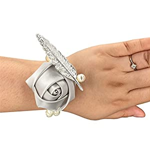 Jackcsale Bride Wrist Corsage Bridesmaid Wrist Flower Corsage for Wedding Prom Homecoming Silver Pack of 2 87