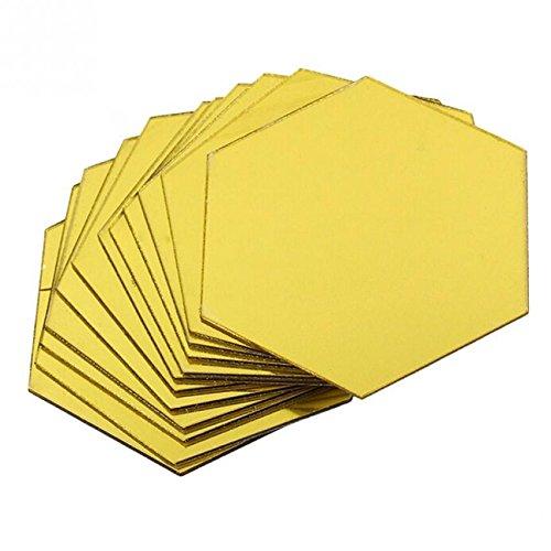 Ioffersuper 12Pcs 3D Mirror Hexagon Vinyl Removable Wall Sticker Decal Home Decor Art DIY Gold ()