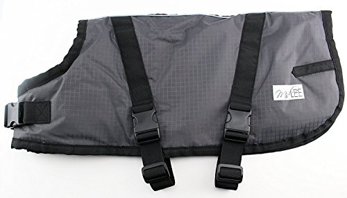 Midlee Fleece Lined Waterproof Dog Blanket Coat Gray & Black (Large) ()