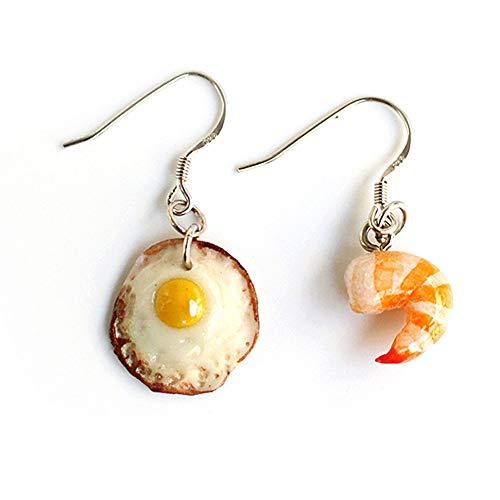 (Polymer Clay Handmade Fried Shrimp with Sunny Side up Egg Earrings (2 Pcs))