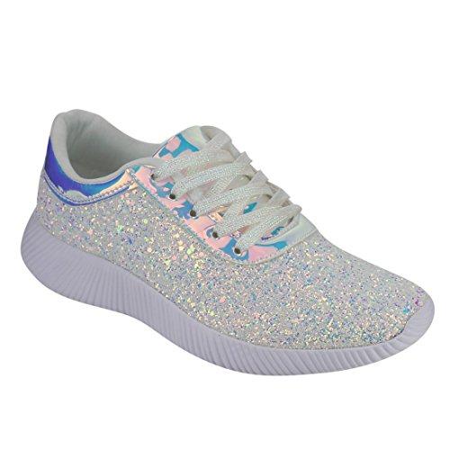 Nature Breeze Em29 Dames Metallic Sprankelende Bling Glitter Bomb Mode Sneaker Wit
