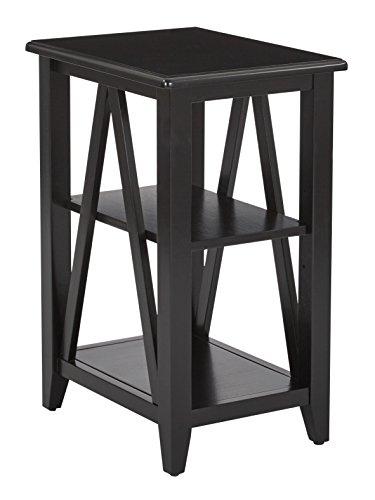 Office Star Santa Cruz Solid Wood and Veneer Side Table, Black (Office Santa Furniture Cruz)