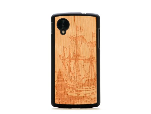 CARVED Matte Black Cherry Wood Case for Google Nexus 5 - Galleon (N5-BC1K-E-GALN)