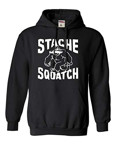 Go All Out XX-Large Black Adult Stache Squatch Funny Mustache Bigfoot Sasquatch Hooded Sweatshirt Hoodie