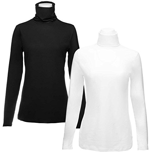 Turtleneck Shirt (Felina 2 Pack Long Sleeve Turtleneck Women Layering Shirts Soft Cotton Blend Ladies Tagless Top)
