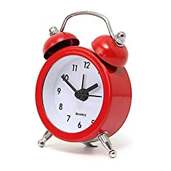 CoCocina Mini Classic Double Bell Alarm Clock Traditional Quartz Movement With Night Light -Red