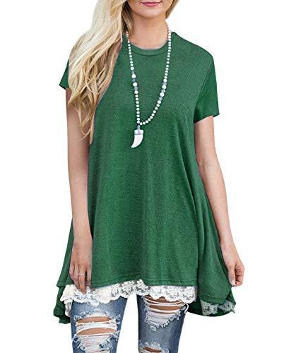 (Women's Lace Tunic Top Sweatshirt Short Sleeve Blouse A-Line Flowy T-Shirt Dress Green)