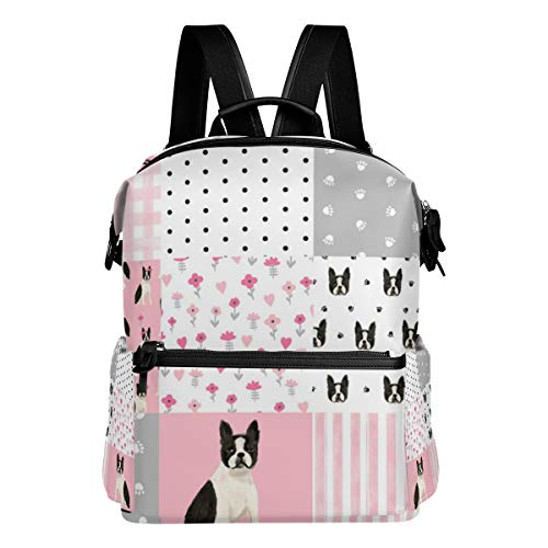 Boston Terrier Cheater Quilt Squares Wholecloth Nursery Dog Fabric Shoulder Bag Daypacks Teenagers