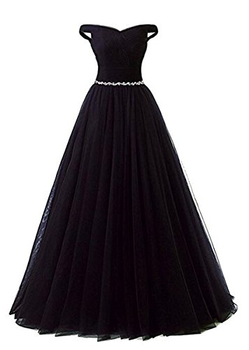 Tulle line Prom Corset Evening Back Shoulder Dress Off Beaded Long Black Belt A with Formal R0dH0wAq1