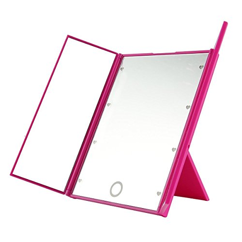 Price comparison product image JUJU MALL-Makeup Tri-sided Foldable Portable Lighted Tabletop 8 LED Beauty Vanity Mirror