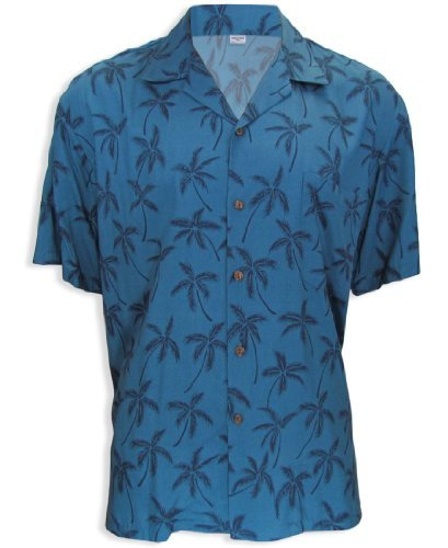 Palm Island Forest Rayon Hawaiian Shirt, BLUE, XL