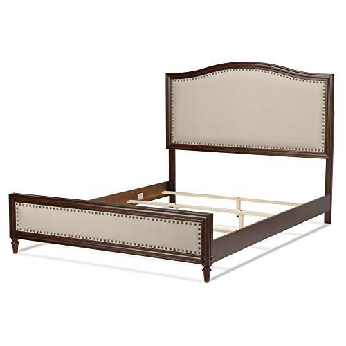 Grandover Platform Bed with Detailed Wooden Frame and Cream Upholstery, Espresso Finish, Queen (Allen Set Bed Wesley)