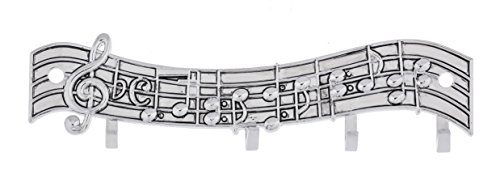 Ganz Music Notes Silver Tone 5 x 1.5 Zinc Measuring Spoon Display Rack With Hooks