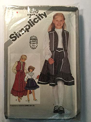Vintage 1981, Simplicity 5162 Sewing Pattern Girls Size 12 Gunne Sax Jessica Mcclintock Stand Collar Ace Trimmed Bib Blouse, Quilted Vest, & Skirt Has Yoke and Attached Ruffle Contrast Fabrics ()