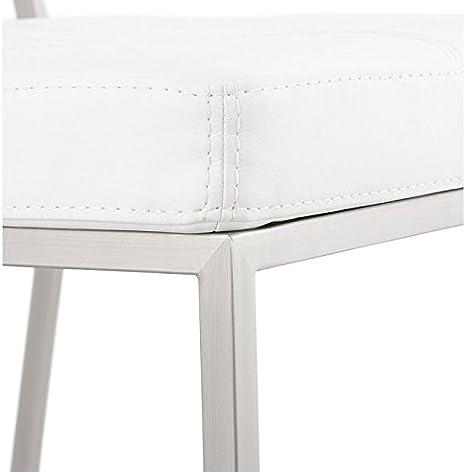 MK Chaise Design capitonnée Bouton en Simili Cuir (Blanc