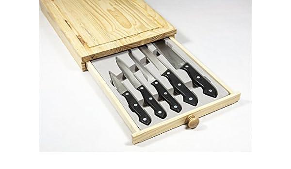 Juego 5 cuchillos con tabla de corte y cajón: Amazon.es: Hogar