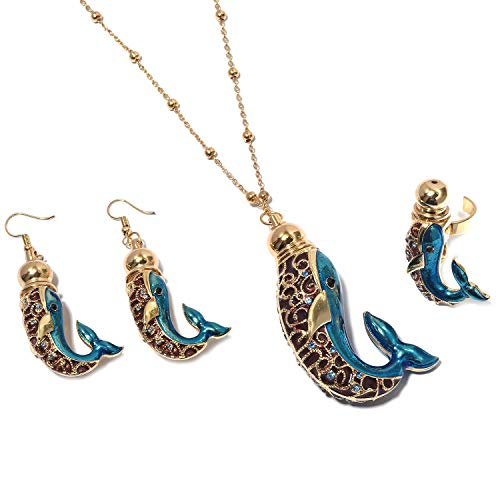 Glass Pink Crystal Enameled Goldtone Elephant Ring Earrings Iron Chain Pendant Necklace Jewelry Set