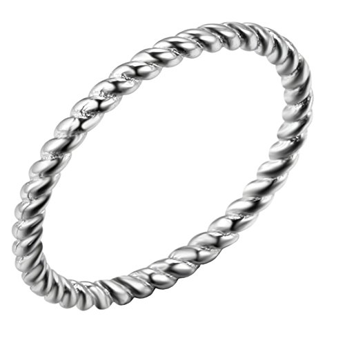 UNAPHYO Women's Stainless Steel 1.5mm Twisted French Rope Skinny Wedding Ring Silver Size 5 -