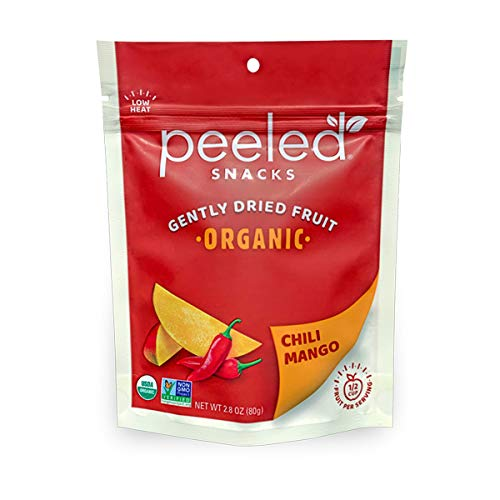 Peeled Snacks Organic Chili Mango, Dried Fruit, Mango with a Kick, 2.8 Ounce