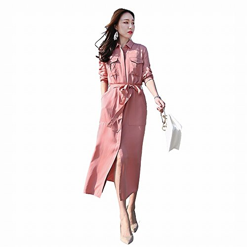 rosa Gonna Sezione Moda Vestito Del Le Sciolto s Stts Temperamento Lunga Di Pianoforte Divisa Marea Sottile Donne TZqUxwxf