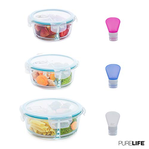 Glass Food Storage Containers by PureLife | Borosilicate Lunch Containers W/Divider & Airtight Lids for Meal Prep | Dishwasher, Microwave, Oven & Freezer Safe | Set of 3 Pcs (42oz, 30oz & 22oz)