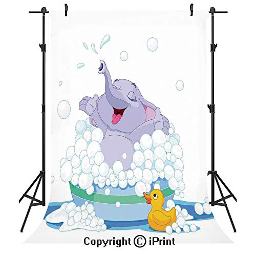 Nursery Photography Backdrops,Elephant Takes Bubble Bath in Basin with Duck Water Games Wild Animals Theme Print,Birthday Party Seamless Photo Studio Booth Background Banner 3x5ft,Multicolor
