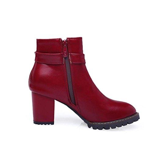 Invierno PU Dedo Confort redondo Tacón Zapatos Hasta Tobillo de Innovador Otoño Botas 4U® Moda Botines Semicuero el Robusto Best black Mujer Botas x0qYZaI