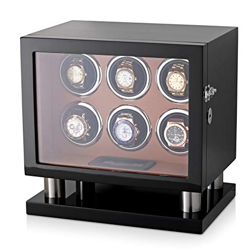 Watch Winder for 6 Watches with LED Backlight, LCD Display and Motor-Stop Option (Black & Brown)