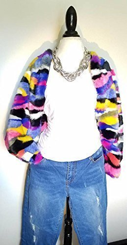 Multi Colored Rainbow Mod Faux Fur Shrug Jacket HANDMADE IN TEXAS, U.S.A. by E by Evelyn Designs