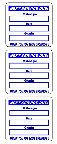 500 2x2 Blue, Black, Green, Red Oil Change Labels Stickers (3 Line)