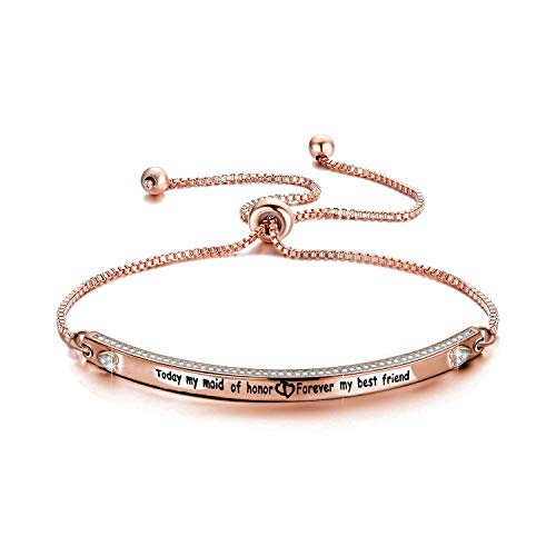 Zuo Bao Maid of Honor Gift Today My Maid of Honor Forever My Best Friend Wedding Jewelry for Bridesmaid Flower Girl (Today My Maid of Honor-Rose Gold)