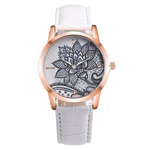 Canvas Face Foundation (XILALU Women watch, Flower print Leather Band Analog Quartz Round Wrist Watch (White))
