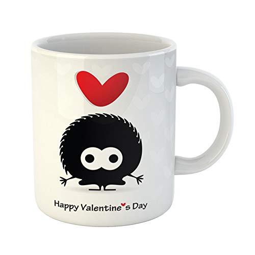 Emvency Funny Coffee Mug Red Alone Cute Monster Heart Animals Bear 11 Oz Ceramic Coffee Mug Tea Cup Best Gift Or Souvenir