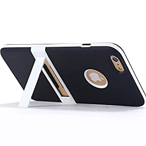 100pcs/lot DHL, Soft TPU Kickstand Case for iphone 6 Plus 5.5 Back Cover +Body Stand Holder & logo Hole for apple Wholesale --- Color:White