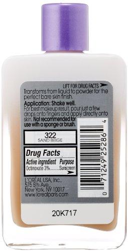 L'Oreal Paris Magic Nude Liquid Powder Bare Skin Perfecting Makeup SPF 18, Sand Beige, 0.91 Ounces