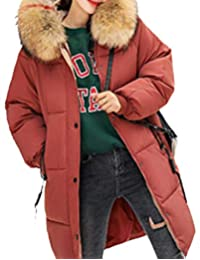 Sweatwater Womens Winter Down Thicken Zip Faux Fur Hooded Mid-Length Parkas Coat