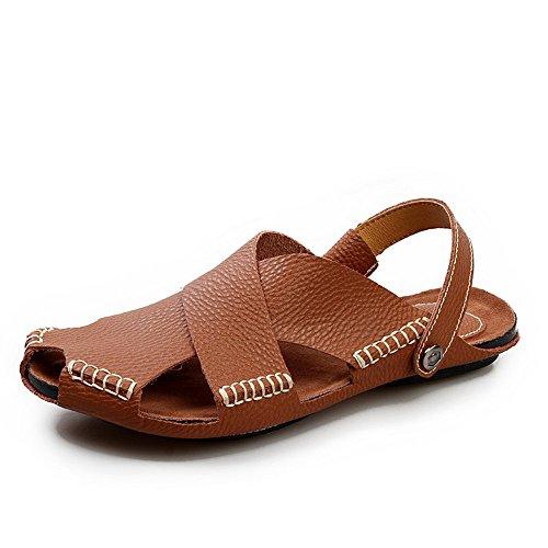 spiaggia scarpe Casual trekking scarpe comode uomo Men's da per Open in e Toe sandali chiusi sport scarpe da tempo Sandali libero coperto in all'aperto pelle per adatte da sudore Brown assorbe pelle il al qwxE7vznEW