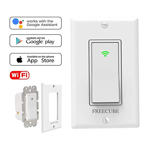 (Smart Switches Work with Alexa, Google Home, in-Wall Timer Switch Wireless Remote Control WiFi Switch for Light No Hub Required, FCC Listed)