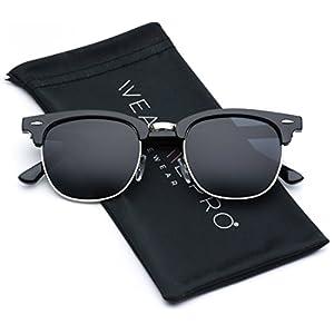 Retro Classic Metal Half Frame Horn Rimmed Sunglasses …