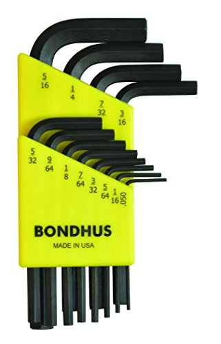 Bondhus 12236 Set of 12 Hex L-wrenches, Short Length, sizes .050-5/16-Inch