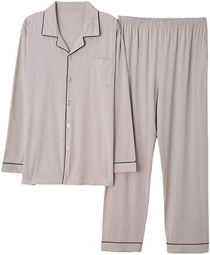 Pijamas para Hombre Ropa De Dormir De Solapa De Algodón Ropa De Dormir para Hombres Ropa De Hogar De Manga Larga Transpirable Traje De Camisón De Primavera Y Otoño Rebeca: Amazon.es: Ropa
