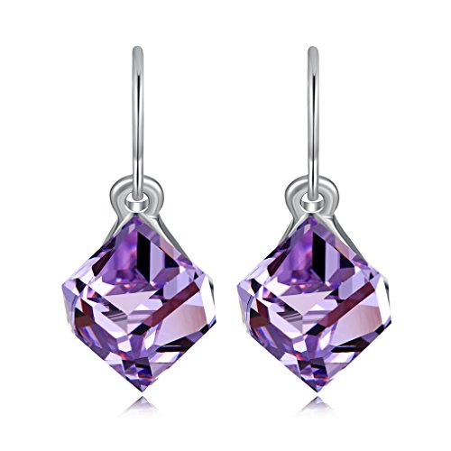 Purple Swarovski Crystal Cube - Color Change Earrings Heart Of Ocean Blue Drop Earrings with Austria Cube Crystal Earrings Ocean Blue And Purple by Richapex (Purple)