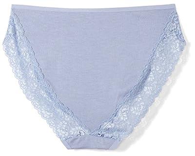 Arabella Women's Smooth Cotton High Leg Lace Detail Brief Panty, 3 Pack, Stonewash/Lilac/High Rise Grey, X-Large