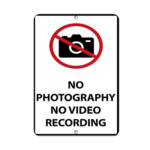 (Kent Sparks Metal Road Sign No Photography No Video Recording Security Sign tin Metal Sign .12 x 8 inch Sign.)